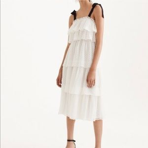 J.Crew• Clip-Dot Tired Dress with Ribbon Straps